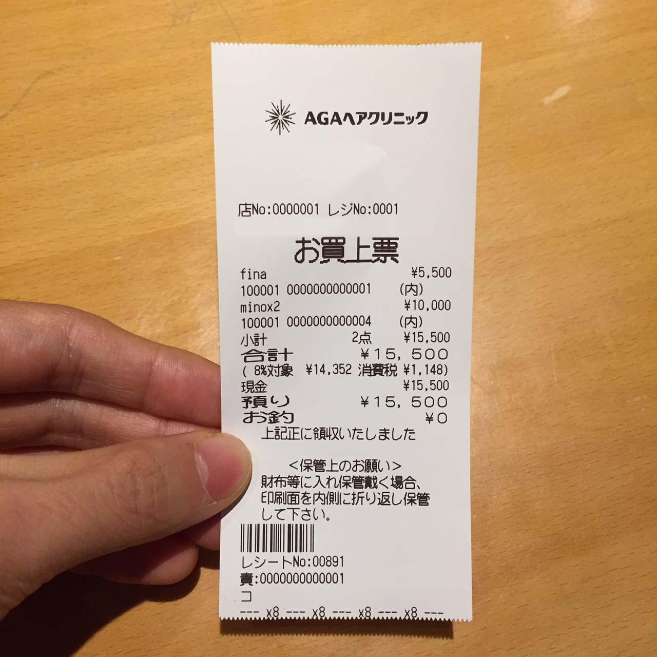 治療費(料金価格)15,500円コース